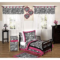 @Overstock - This Zebra Print bedding set by JoJo Designs will set your little girl's room up in high style. This bedding set features a super contemporary look using a stunning color combination.http://www.overstock.com/Bedding-Bath/Pink-Black-and-White-Funky-Zebra-Print-5-piece-Toddler-Girls-Bedding-Set/5298528/product.html?CID=214117 $89.99