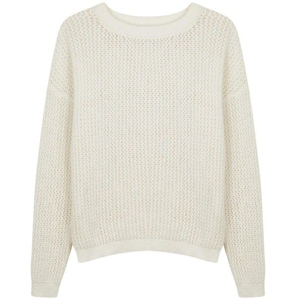 Womens Jumpers DKNYPURE White Open-knit Cotton Jumper found on Polyvore featuring tops, sweaters, puredkny, jumper top, jumpers sweaters, white jumper and cotton knit sweater