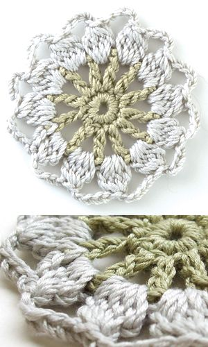 Round crochet motif - free Japanese diagram download--this is the motif to use for the green and yellow blanket. ✿Teresa Restegui http://www.pinterest.com/teretegui/✿