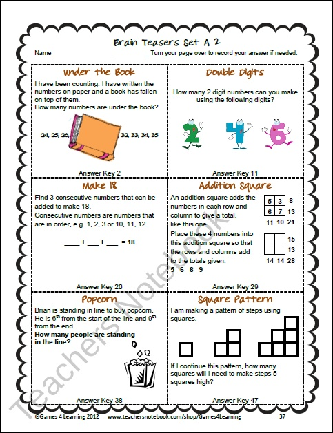 this collection of printable math problems and math brain teasers cards from teaching. Black Bedroom Furniture Sets. Home Design Ideas