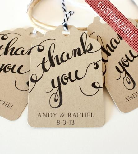 Custom Thank You Handwritten Calligraphy Tag - for weddings and other special occasions