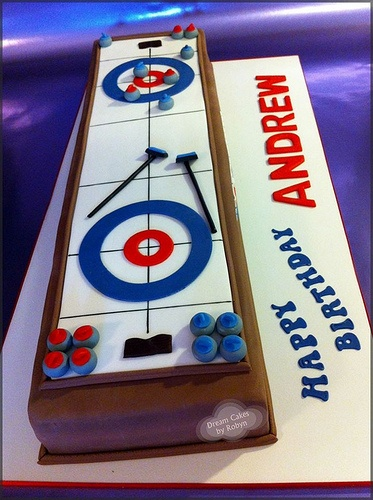 """Happy Birthday, Andrew!"" Perfectly Rectangular Curling Ice Sheet Cake via ""Dream Cakes By Robyn"" on Flickr.Com"
