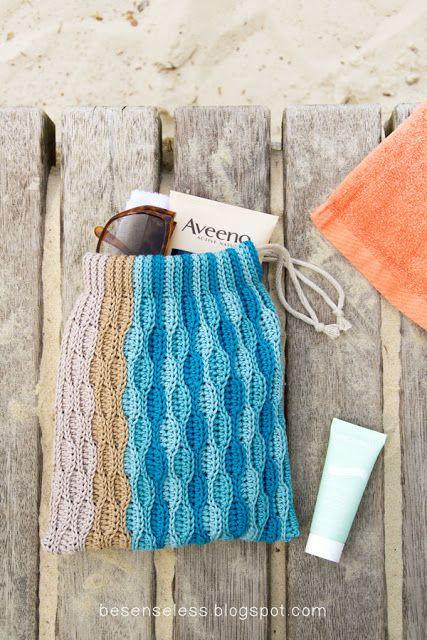 Sacchetto onde uncinetto - Crochet waves sack in cotton yarn