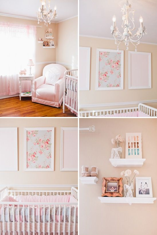 pink peach and white nursery. I like the framed fabric. Might try this for Jo