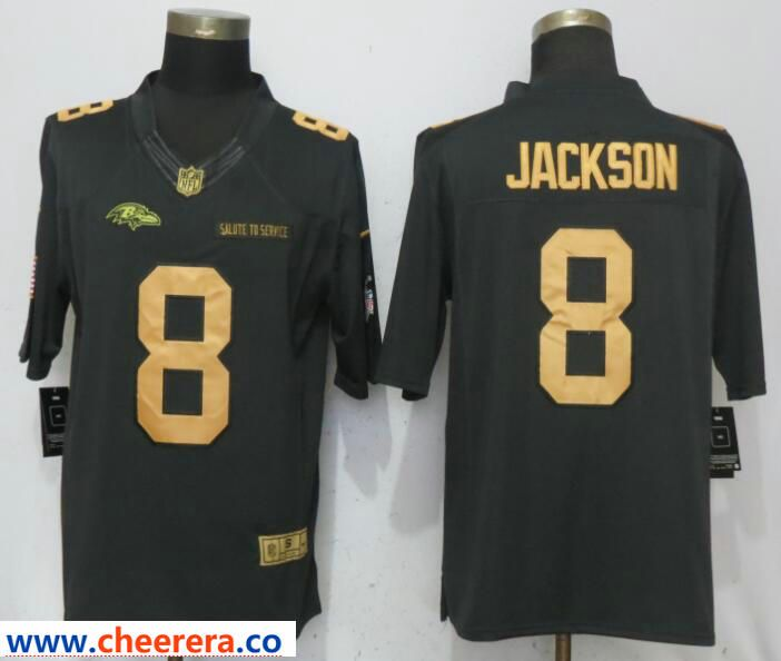brand new 70993 4f87b Nike Ravens 8 Lamar Jackson Gold Anthracite Salute To ...