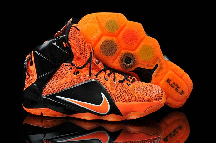 Womens and Kids Lebron 12 ID XII Bright Citrus Total Orange Black ... bed4411789