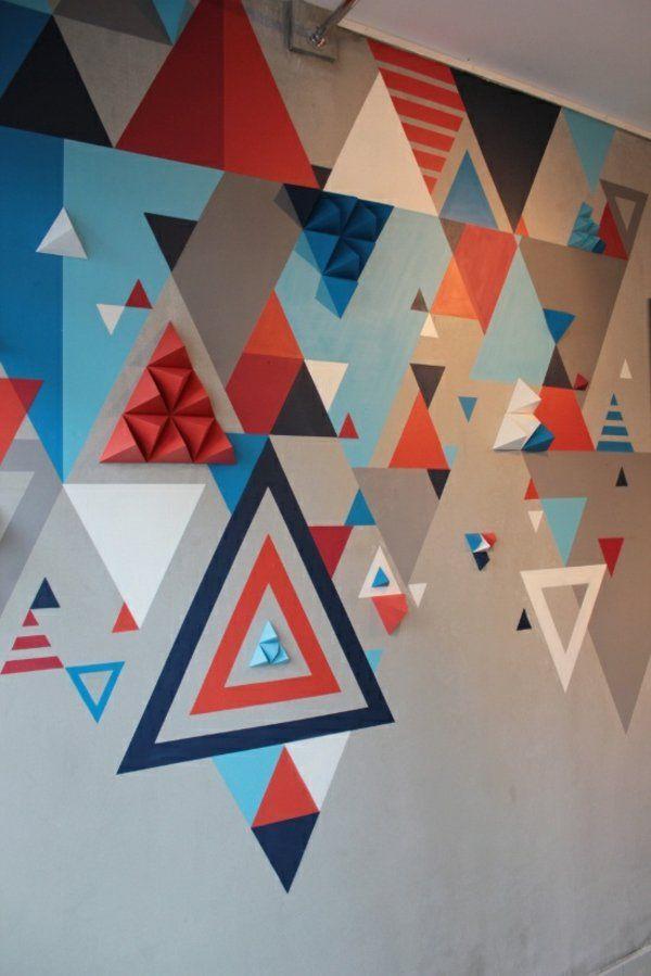 wandgestaltung mit farbe wand streichen ideen geometrische formen wall design pinterest w nde. Black Bedroom Furniture Sets. Home Design Ideas