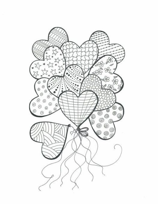 Coloriage Ballon Pdf.Printable Coloriages Cœur Adult Valentine S