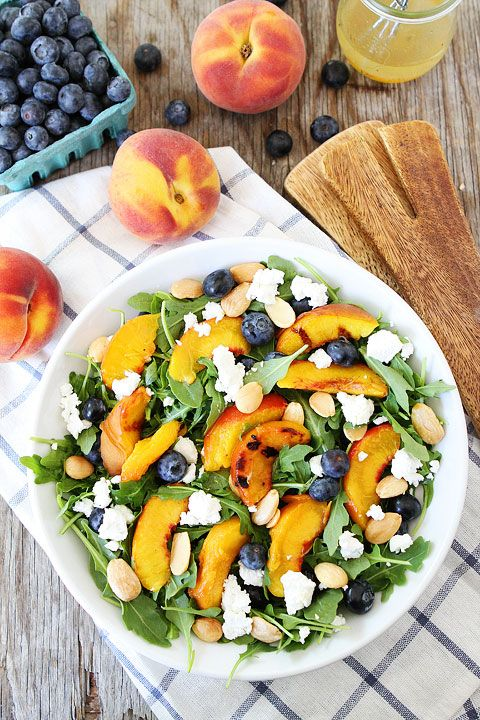 Grilled Peach, Blueberry, and Goat Cheese Arugula Salad Recipe on twopeasandtheirpod.com #salad #summer #vegetarian