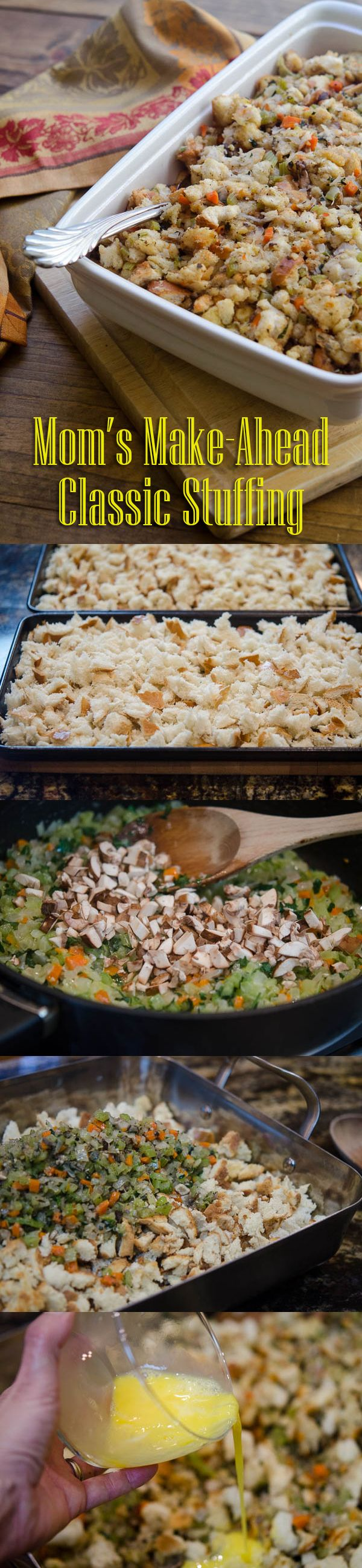A classic stuffing recipe you can't mess up! Traditional recipe you can make ahead of time (one less thing to worry about on the already crazy day). Mother Approved: http://www.ehow.com/ehow-food/blog/moms-classic-make-ahead-bread-stuffing/?utm_source=pinterest&utm_medium=fanpage&utm_content=blog