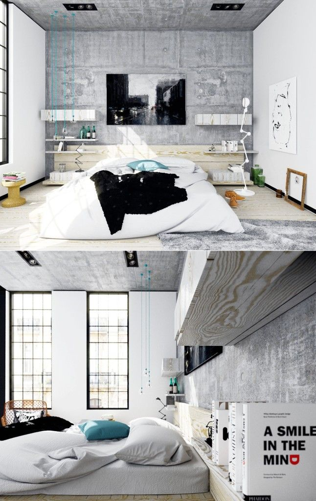 Bedroom, Bedrooms Inspiration White Bed Cover White Pillow Blue Pillow  Black Sheet Gray Fur Carpet White Wooden Floor Wooden Shelf Gray Wall Decor  With ...