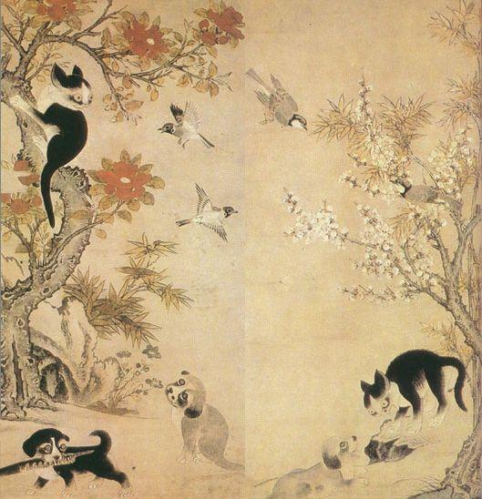 이암 - 화조묘구도 - 花鳥拘子圖