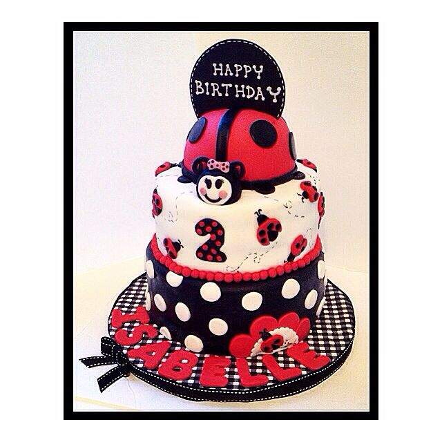 Ladybug themed cake. Red & black velvet tiers with fudge frosting.