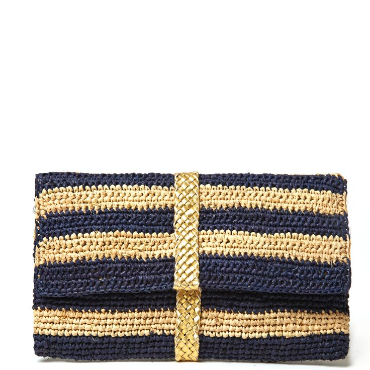 Mar Y Sol Teresa Raffia Braided Clutch in Navy