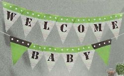 Printable Green Camo Pennants for Military Baby Shower Banner