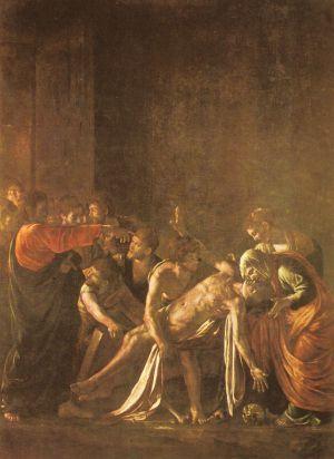 La resurrección de Lázaro, de Caravaggio.La oración por los que han muerto puede salvarles.
