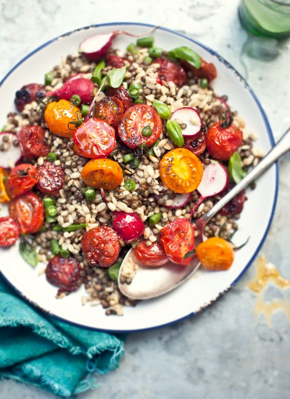 pearl barley and puy lentil salad with roasted heirloom baby tomatoes, chorizo, green beans, and baby radish
