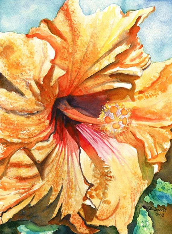 Tropical Hibiscus 3 Watercolor Painting Original from ...