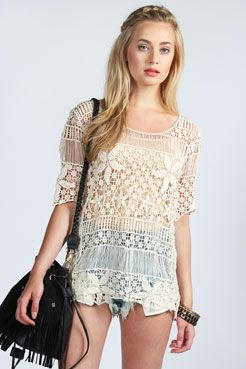 Laura Crochet Short Sleeve Top £20