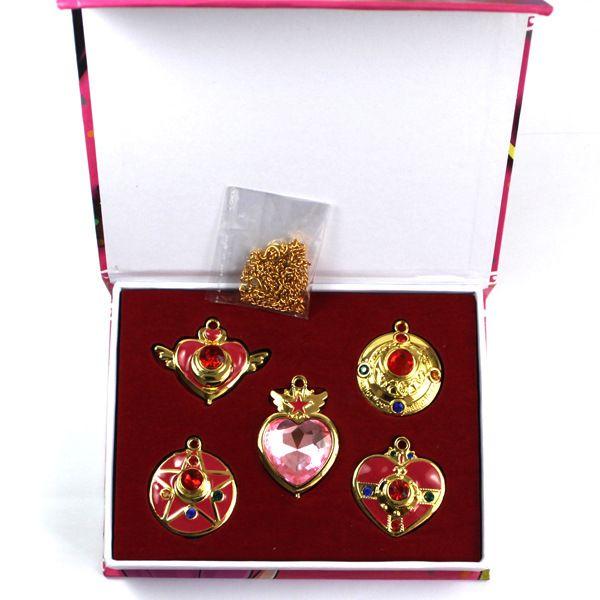 5 шт./лот Довольно Солдат Сейлор Мун ожерелье с красивейшей коробкой Прекрасный Bishoujo Senshi Sailor Moon Кулон ожерелье ювелирных изделий купить на AliExpress