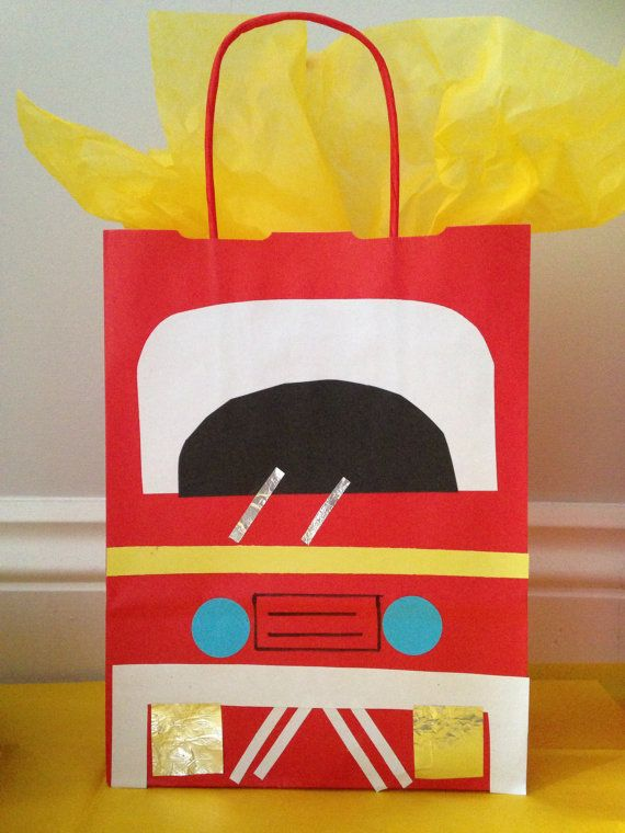 Fire Engine/ Fireman paper party bag by MyPartyBox on Etsy