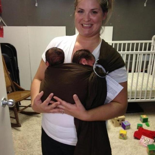 Baby Wearing Newborn Twins