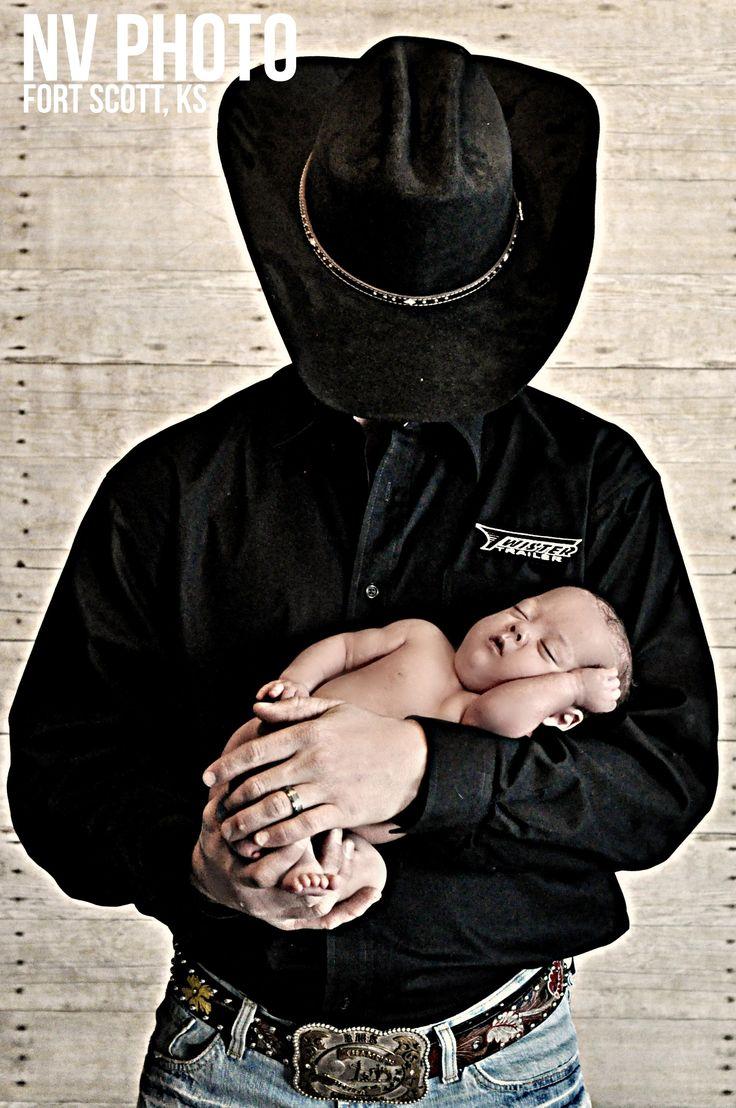 Newborn Photography Cowboy Baby Boy with his dad.