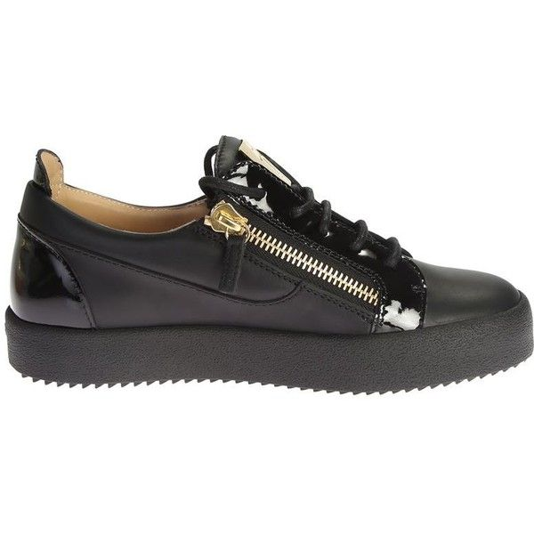 Leather Sneaker With Metal Details ($462) ❤ liked on Polyvore featuring shoes, sneakers, black, womenshoessneakers, leather footwear, giuseppe zanotti sneakers, rubber sole shoes, giuseppe zanotti trainers and leather shoes