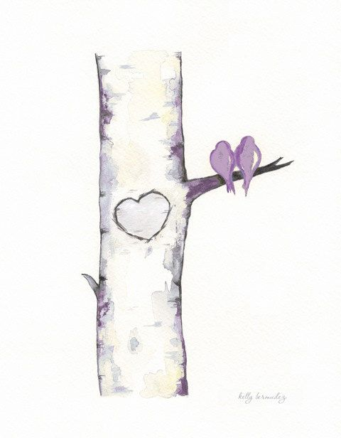 Birch Tree Love No. 7 Lavendar/ Love Birds / by kellybermudez, $20.00