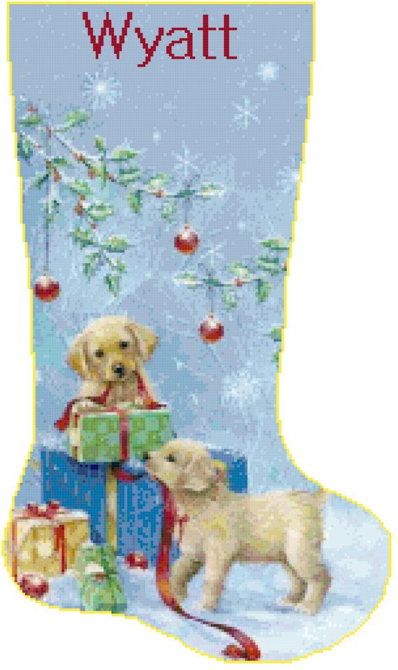 Cross Stitch Christmas Stocking Golden Retriever by SherrysHouse