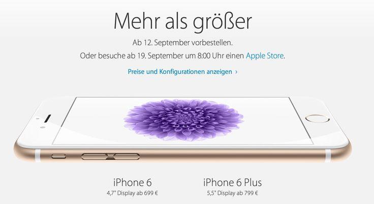 iPhone 6 & iPhone 6 Plus ab 699 Euro ab 12.09.2014! - https://apfeleimer.de/2014/09/iphone-6-iphone-6-plus-ab-699-euro-ab-12-09-2014 - iPhone 6 und iPhone 6 Plus ab 12. September vorbestellen! Ab 699 Euro schickt Apple das iPhone 6 in den Handel, der Preis des iPhone 6 Plus liegt 100 Euro höher und beide neuen Geräte werden ab 19.09.2014 erhältlich sein. Außerdem wird es weder ein 32 GB iPhone 6 noch ein 32 GB iPhone 6 Plus geb...
