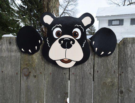 Black Bear Fence Peeker Bear Fence Decoration Outdoor Yard Art