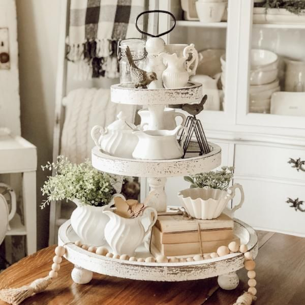 Preorder White Three Tiered Stand Round Wooden Tray Tiered Tray Decor Country Farmhouse Decor