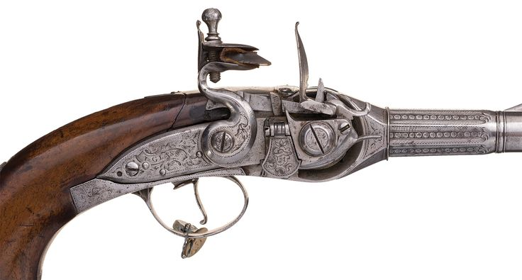 Incredibly Rare Pair of Silver-Mounted Lorenzoni-Berselli System Flintlock…