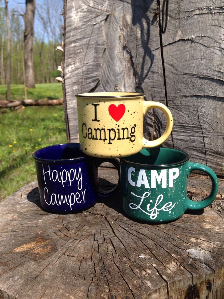 Camping Coffee Mugs by BusyBBoutique on Etsy https://www.etsy.com/listing/232740382/camping-coffee-mugs