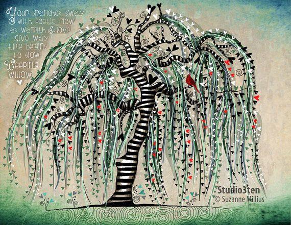 Trauerweide mit Kardinal / Baum Natur Kardinal von studio3ten