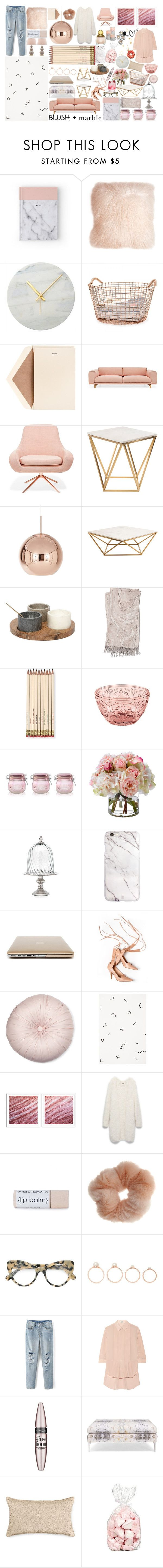 """Blush + Marble"" by miica-olavarria ❤ liked on Polyvore featuring interior, interiors, interior design, home, home decor, interior decorating, Pillow Decor, Korbo, Dempsey & Carroll and Muuto"