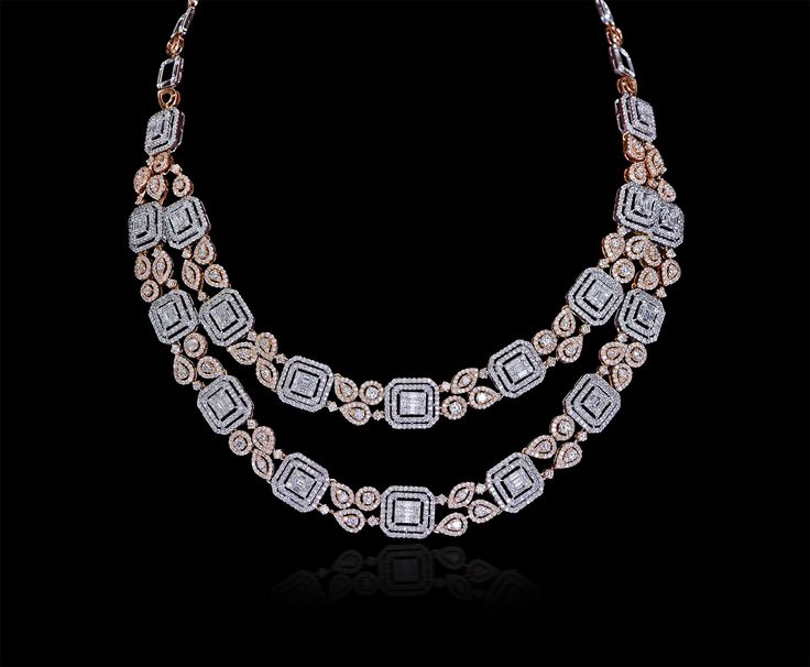 #Elegant dual layered #diamond #necklace in tones of #rose by #MaheshNotandass