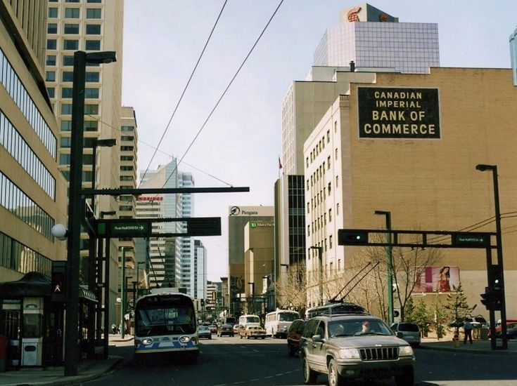 CIBC Bank on Jasper Avenue and 100 Street in the 1980's. Notice the Big Brown Sign.