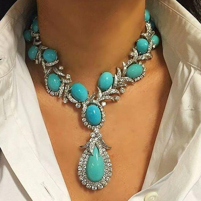 Instagram photo by @legendaryjewelry • beautiful diamonds turquoise necklace