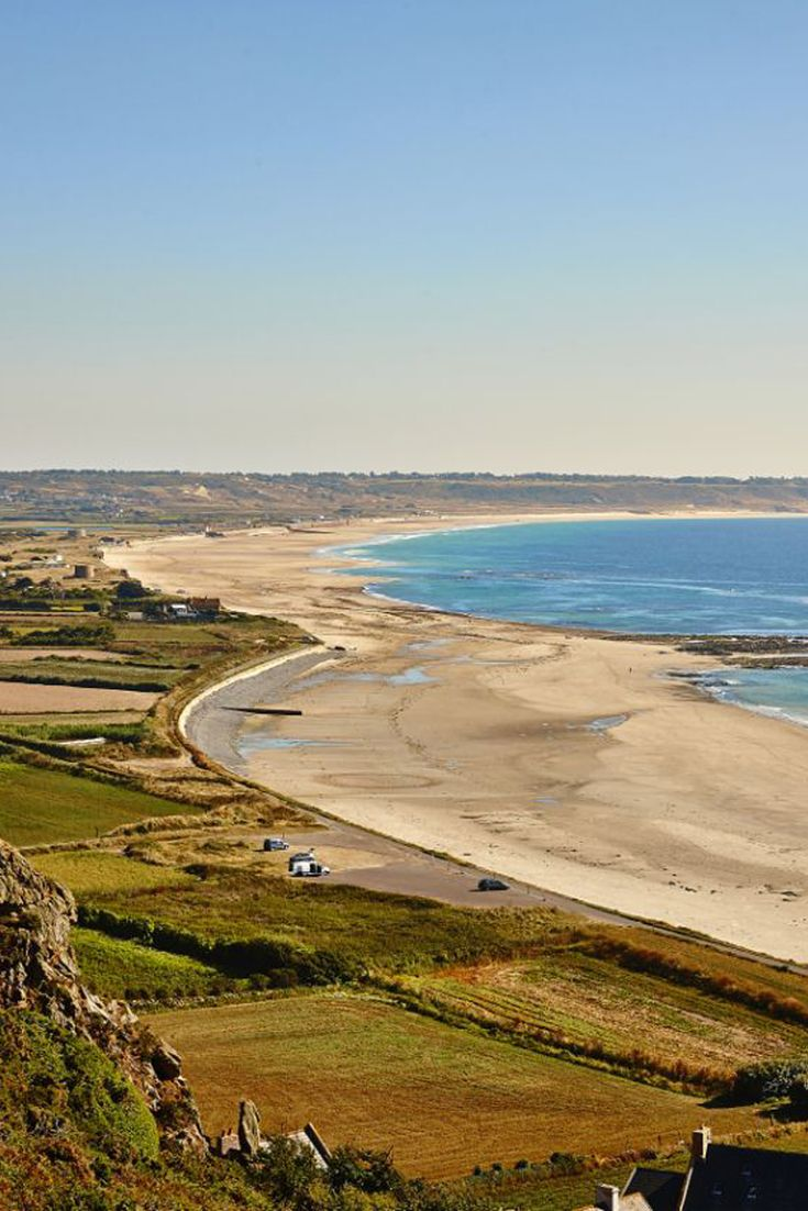 Panoramic view of St. Ouen's Bay in Jersey, Channel Islands #EscapeToJersey