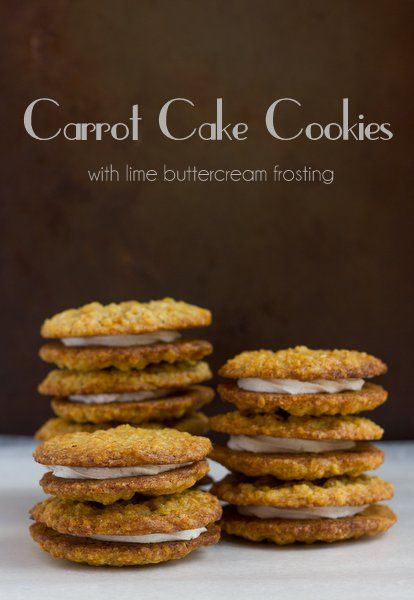 Carrot Cake Cookies with lime buttercream frosting
