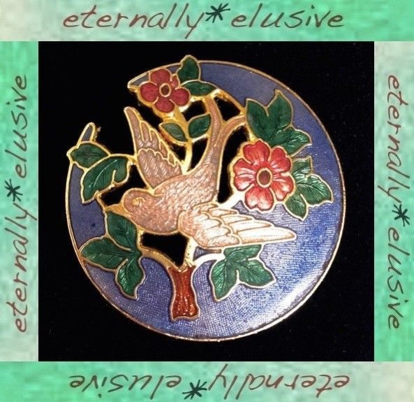 Vintage Signed FISH Cloisonne Enamel Peace Dove Bird 24ct Gold Plated Brooch Pin