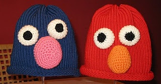 Grover and Elmo hats made on loom and crochet.