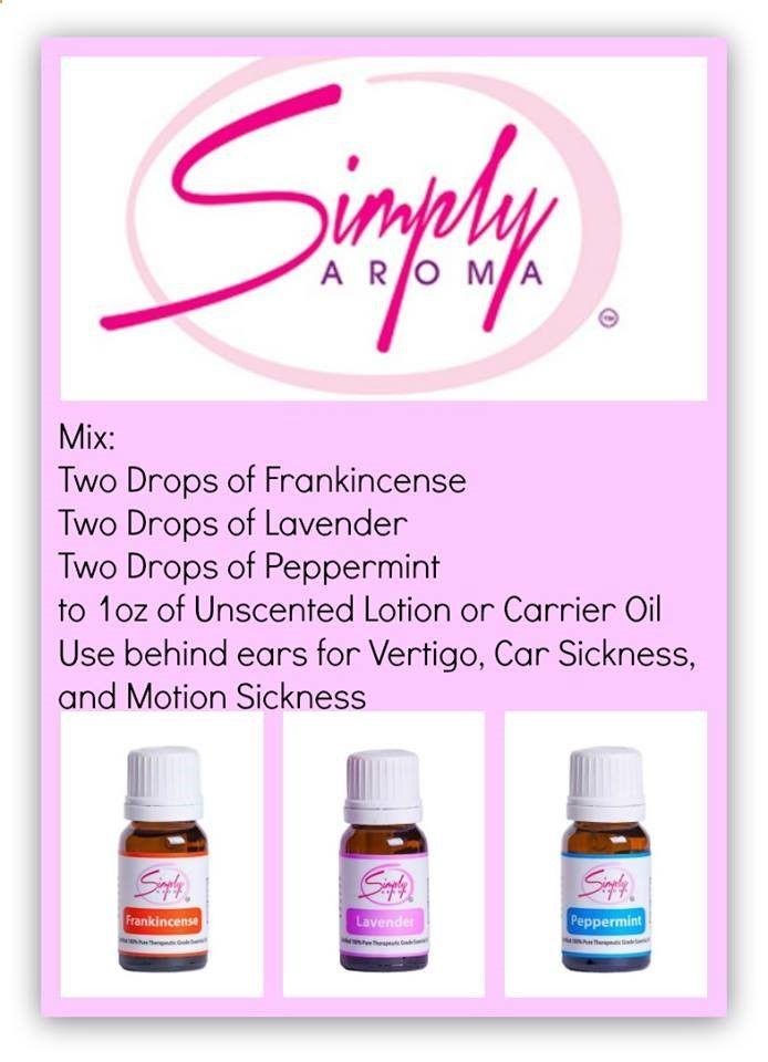 Blend of Simply Aroma Essential oils to use for Vertigo, Car Sickness or Motion Sickness. #essentialoils #motionsickness #blend www.simplyaroma.com/andreamccurry