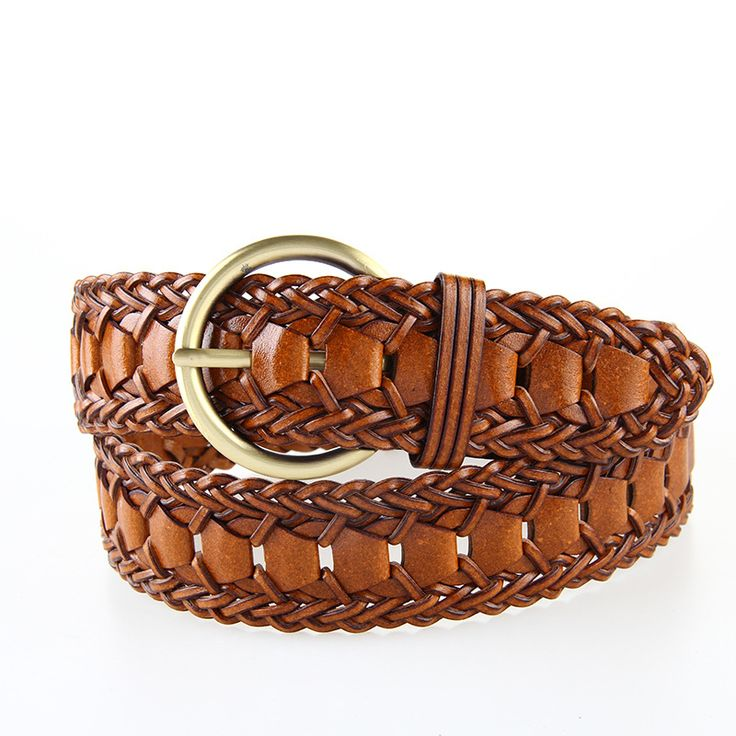 Wide Ladies Fashion Hand Made Pin Buckle Braided Belt Women Kintted Waistband Webbing Straps Faux Leather Cinto Feminino 3BW9