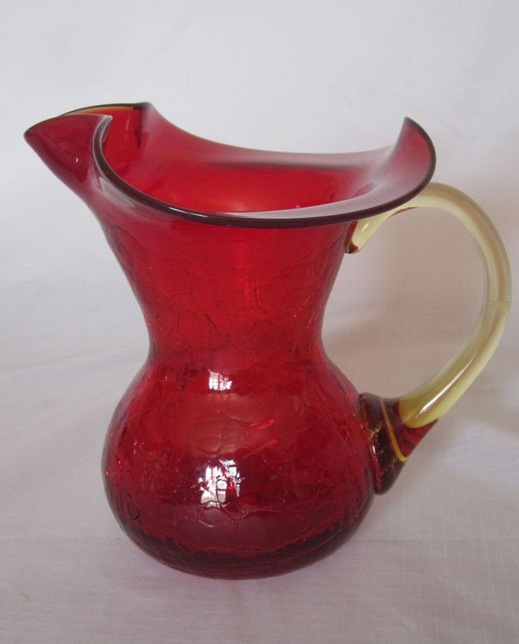 """Ruby Red Crackle with Amber Handle Blown Art Glass Pitcher 6"""" tall Vintage #unbranded #CrackleGlass"""