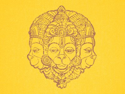 Hanuman illustration for t-shirt