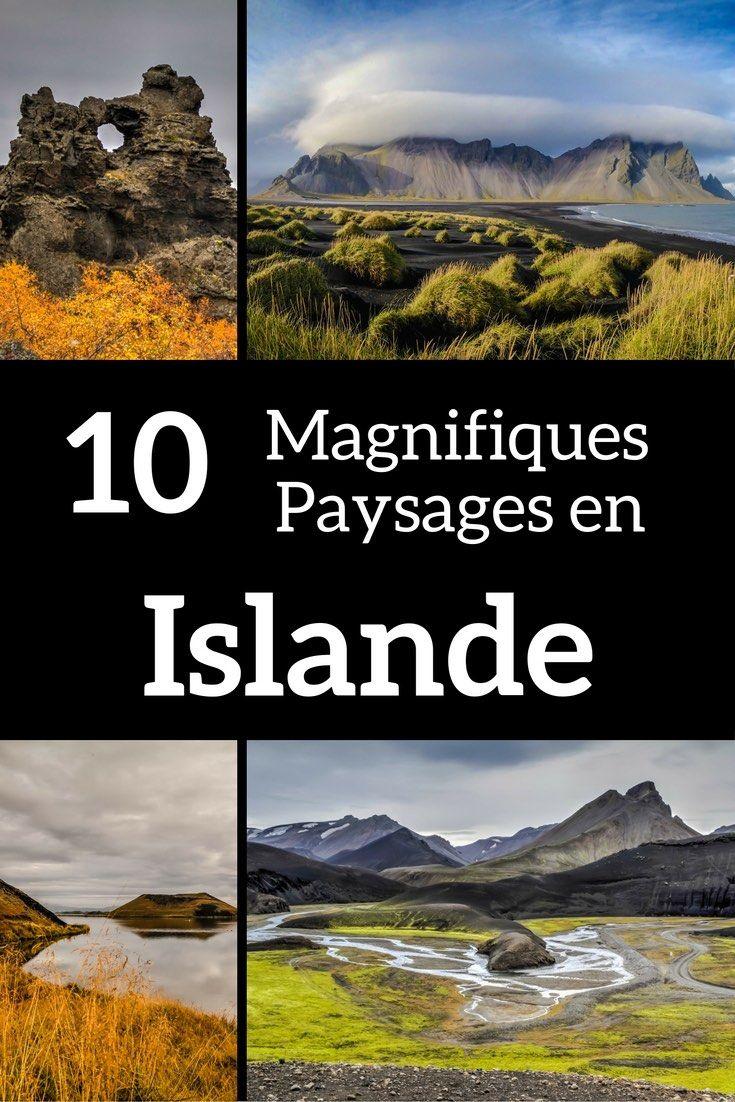 Découvrez en photos 10 des plus beaux paysages d'Islande - cratères, cascades, montagnes, icebergs... Une belle sélection qui va vous donner envie de réserver un billet d'avion et de partir en voyage en Islande ! Inclus Jokulsarlon, Kirkjufell, Dimmuborgir et des lieux moins connus