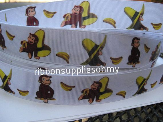 "7/8"" 1"" Curious George Ribbon Monkey Grosgrain Ribbon 5 YARDS Making Hair Bow Supplies Printed Ribbon by the yard we sell wholesale ribbon"